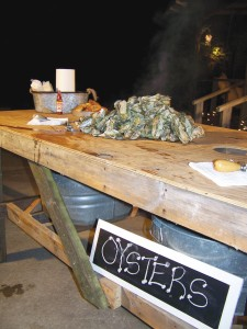 A great set-up for an oyster table. Photo by Amber Lanier