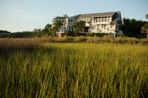 The rear of the home overlooks the Bald Head Island marsh. Photo courtesy of Bald Head Island Limited.