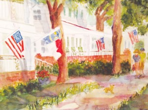 Nancy Schulte, an artist who transplanted to Southport from Atlanta, enjoys painting outdoors often. She created this watercolor during the city's last Plein Air Paint Out. Courtesy photo