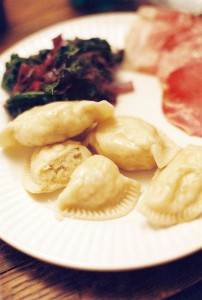 Writer Jenny Bowman took home some potato pierogi from the restaurant for her family. She served them with browned butter, baked ham with horseradish, and kale and red cabbage. Photo by Drew Pearson
