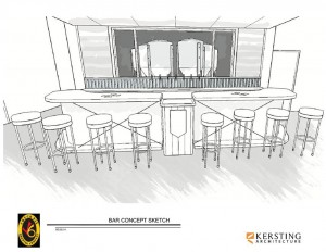Kersting Architecture developed this sketch of the bar concept for Check Six Brewing Company.  A high-top communal table is also part of the conceptual floor plan. Image courtesy of Noah Goldman