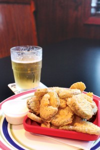 Fried pickles served with ranch.