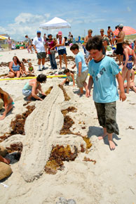Folks can take part in the sand sculpture contest at high noon on Tuesday, July 1, part of the Beach Day at Oak Island events. Photo courtesy of the Southport-Oak Island Area Chamber of Commerce.