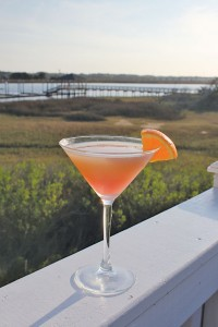 The sunset martini features a blend of Absolut Mandarin vodka, Cointreau, and orange and cranberry juices.