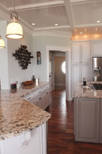 Plenty of kitchen counter space is highlighted with unique granite. Photo by Bethany Turner