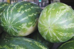 8. Watermelon Where to buy: Grocery stores and roadside produce markets or farms What to look for: Dark colors.  Stripes closer together. A yellow or light bottom. Don't buy if: The stem is green. Has an irregular shape.