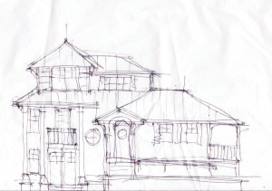 """This sketch by Rich Bandera depicts the street side of the home as it uses the roof forms to scale down the structure. """"It helps to integrate better into the landscaping of the site—sort of a Japanese garden structure attempt,"""" Bandera says. """"It's a complex design."""" Photo by Bethany Turner"""