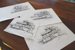 Sketches by Bandera that showcase the design process. Photo by Bethany Turner
