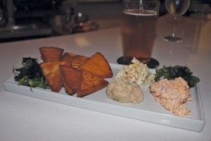 The cold plate features green peanut hummus, pimento cheese, and pumpkin goat cheese. Photo by Bethany Turner