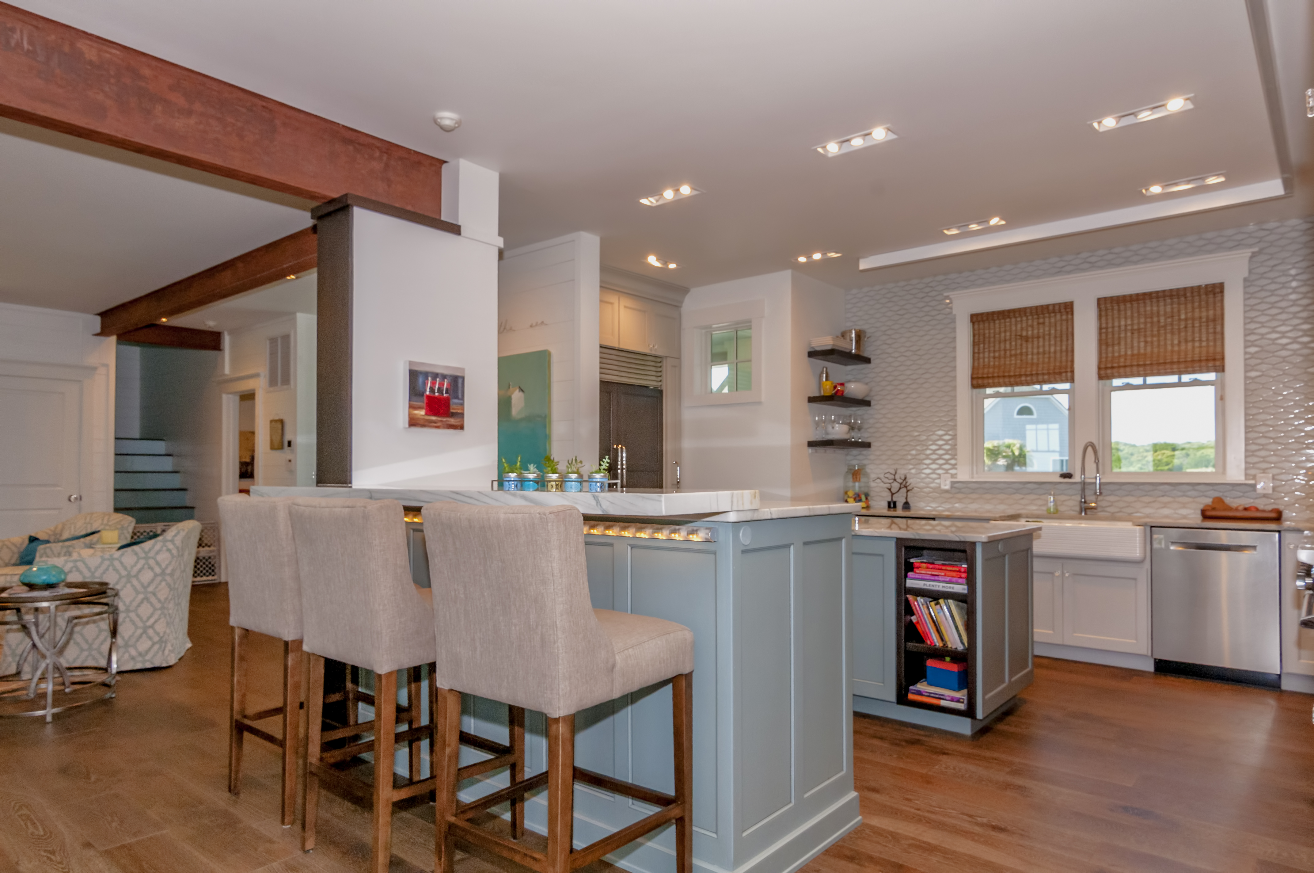 into kitchen exposed beams